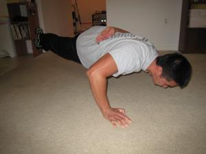 One Arm One Leg Pushup, Check!